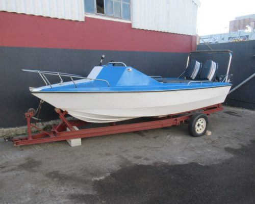 17 FT DEEP SEA BOAT WITH TWO YAMAHA MOTORS ON TRAILER ( NO PAPERS FOR TRAILER)